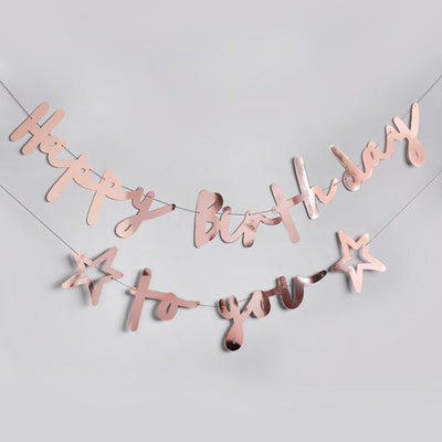 ROSE GOLD HAPPY BIRTHDAY TO YOU BANNER - Ralph and Luna Party Shop
