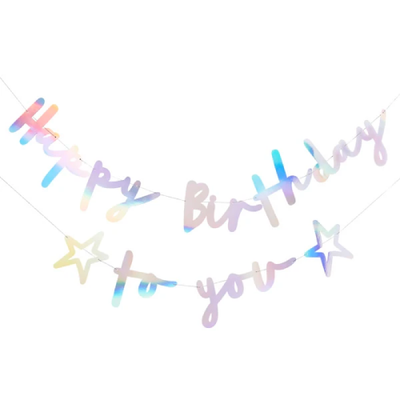 IRIDESCENT HAPPY BIRTHDAY TO YOU BANNER - Ralph and Luna Party Shop