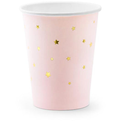 Pink Gold Foil Stars 260ml Paper Cups - Ralph and Luna Party Shop