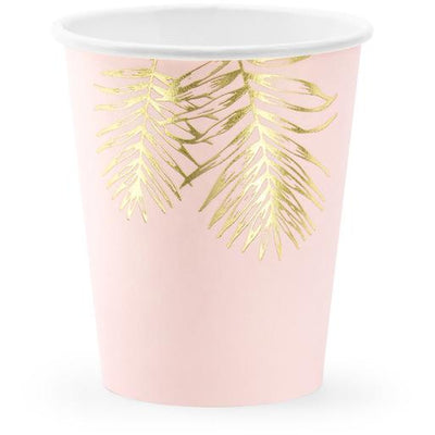 Pink Gold Leaf 220ml Paper Cups - Ralph and Luna Party Shop