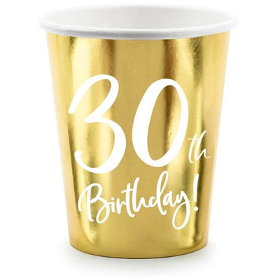30th Birthday Gold 220ml Paper Cup - Ralph and Luna Party Shop