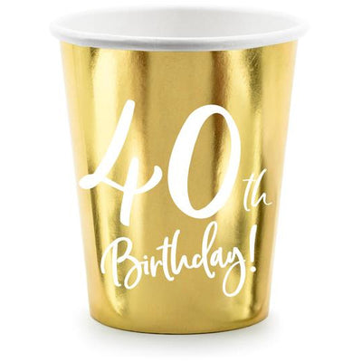 40th Birthday Gold 220ml Paper Cup - Ralph and Luna Party Shop