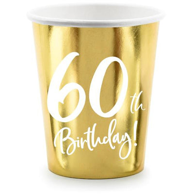 60th Birthday Gold 220ml Paper Cup - Ralph and Luna Party Shop