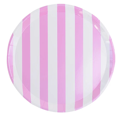 Pink & White Striped Dinner Plate - Ralph and Luna Party Shop