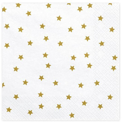 White Gold Star Napkins 33cm - Ralph and Luna Party Shop