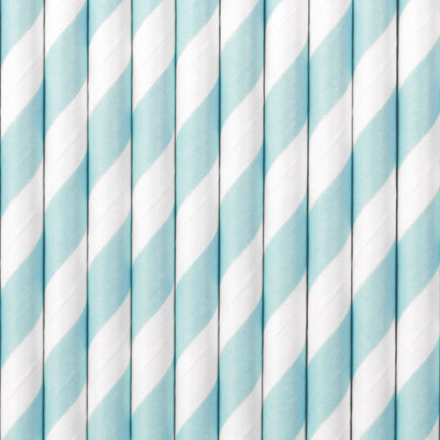 Blue Stripe Paper Straws - Ralph and Luna Party Shop