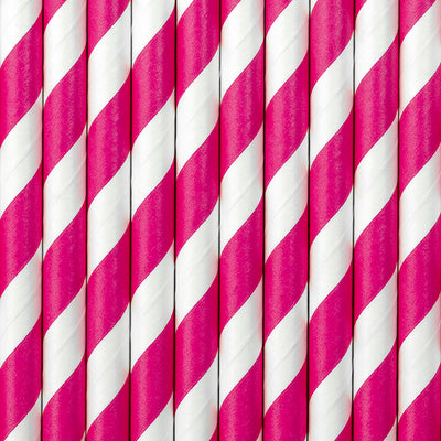 Pink Stripe Paper Straws - Ralph and Luna Party Shop