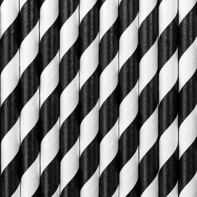 Black Stripe Paper Straws - Ralph and Luna Party Shop