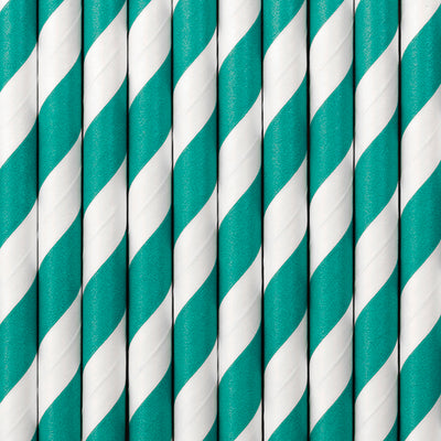 Turquoise Stripe Paper Straws - Ralph and Luna Party Shop