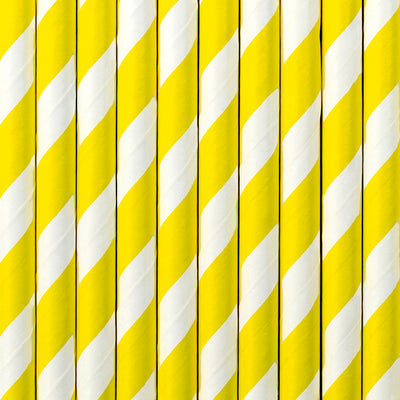 Yellow Stripe Paper Straws - Ralph and Luna Party Shop