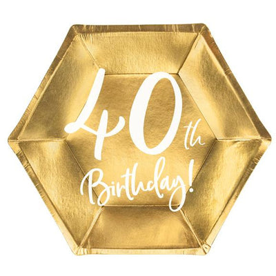 40th Birthday Gold 20cm Party Plate - Ralph and Luna Party Shop