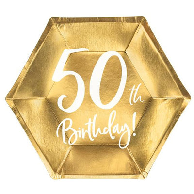 50th Birthday Gold 20cm Party Plate - Ralph and Luna Party Shop