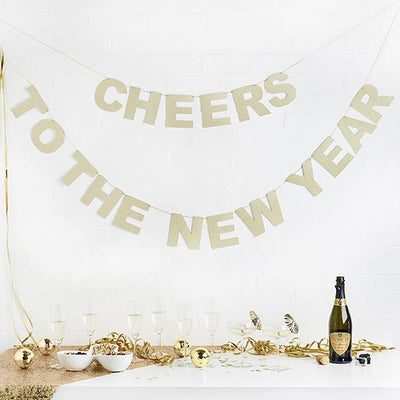 Happy New Year Party Banner Gold