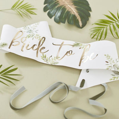 Botanical Hen Gold Foiled Bride To Be Sash - Ralph and Luna Party Shop