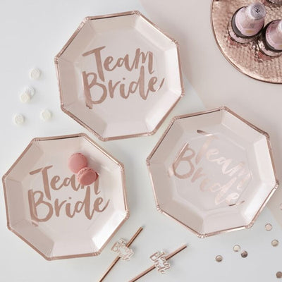 Team Bride Rose Gold Plates - Ralph and Luna Party Shop
