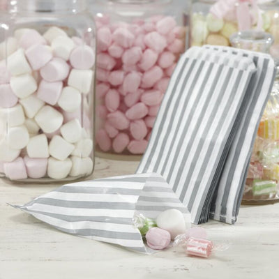 White & Grey Candy Bags - Ralph and Luna Party Shop