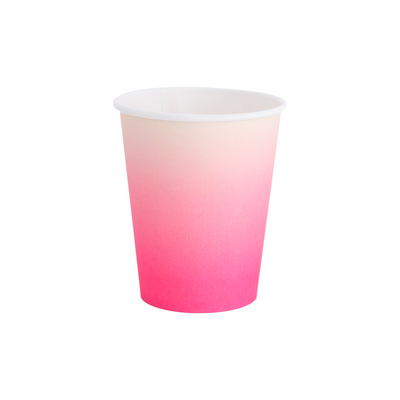 Neon Rose Pink Ombre Paper Party Cups - Ralph and Luna Party Shop