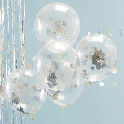 Holographic Star Confetti Balloons - Ralph and Luna Party Shop