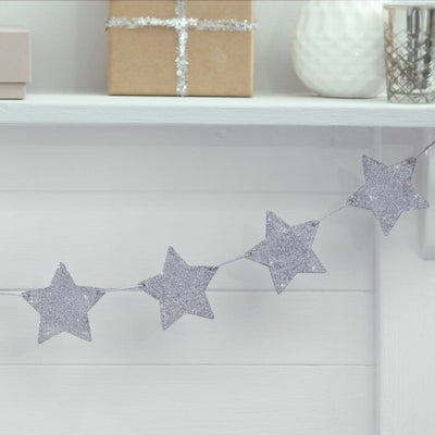Silver Glitter Star Wooden Bunting - Ralph and Luna Party Shop