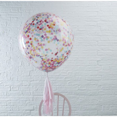 3 Giant Multicoloured Confetti Filled Balloons - Ralph and Luna Party Shop