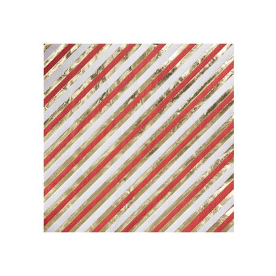 Christmas Red & Gold Stripe Napkins - Ralph and Luna Party Shop
