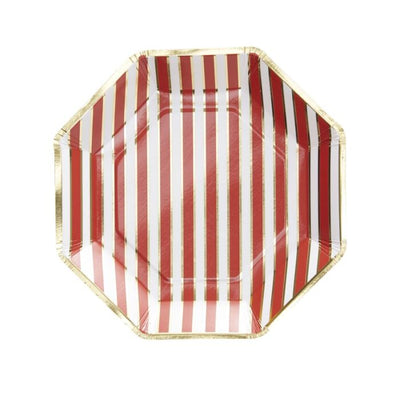 Christmas Red & Gold Stripe Plates - Ralph and Luna Party Shop