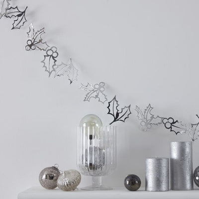 Silver Holly Christmas Bunting Decoration - Ralph and Luna Party Shop
