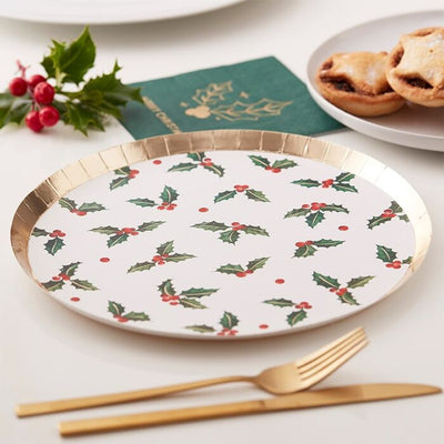 Christmas Holly Leaf Paper Party Plates - Ralph and Luna Party Shop