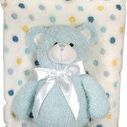 Coral Fleece Stephan Baby Bear and Blanket Set