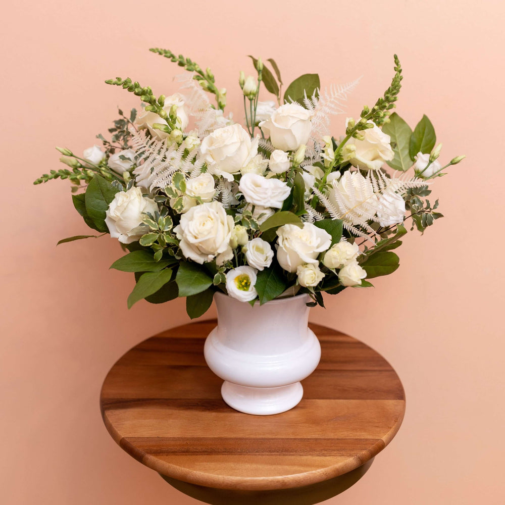 Load image into Gallery viewer, Sympathy Floral Arrangement with Neutrals