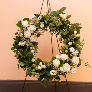 Standing Sympathy Wreath with Neutral Florals