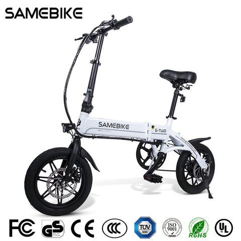 "Samebike 14"" Quality Aluminum Alloy Folding Electric Bike 36V250W e-Bike Lithium Battery US"