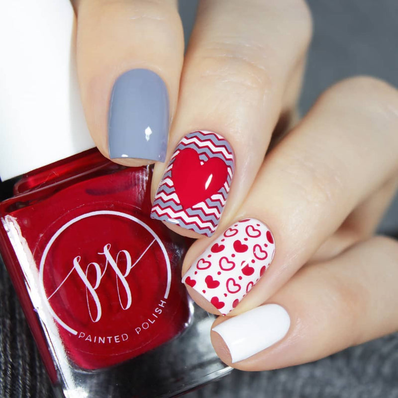 Painted Polish - Stamped in Crimson