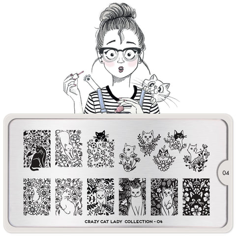 MoYou London Crazy Cat Lady 04 stamping plate