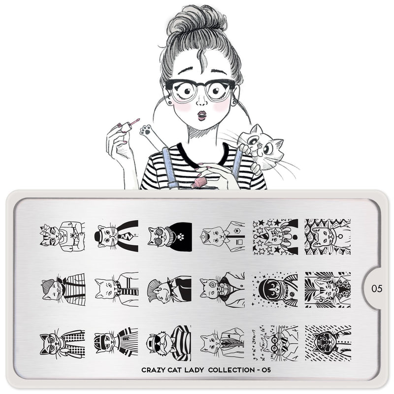 MoYou London Crazy Cat Lady 05 stamping plate