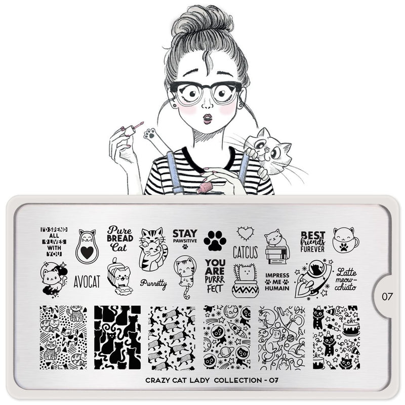MoYou London Crazy Cat Lady 07 stamping plate