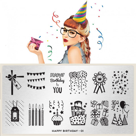 MoYou London Happy Birthday 01 stamping plate