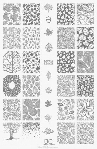 UberChic Lovely Leaves-01 stamping plate