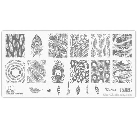 Uber Mini Fabulous Feathers stamping plate