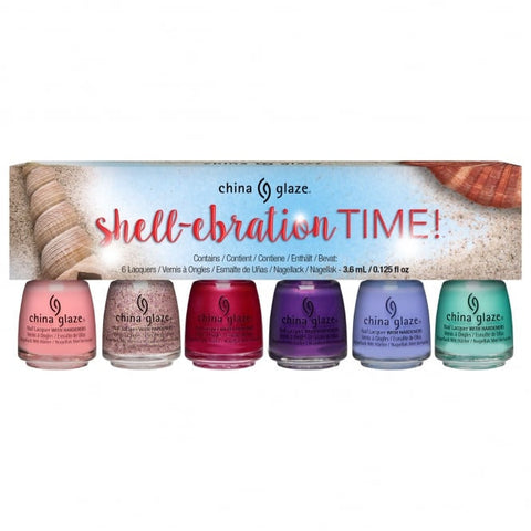 China Glaze - Seas and Greetings - Shell-ebration Time Mini Set (6 x 3.6ml)