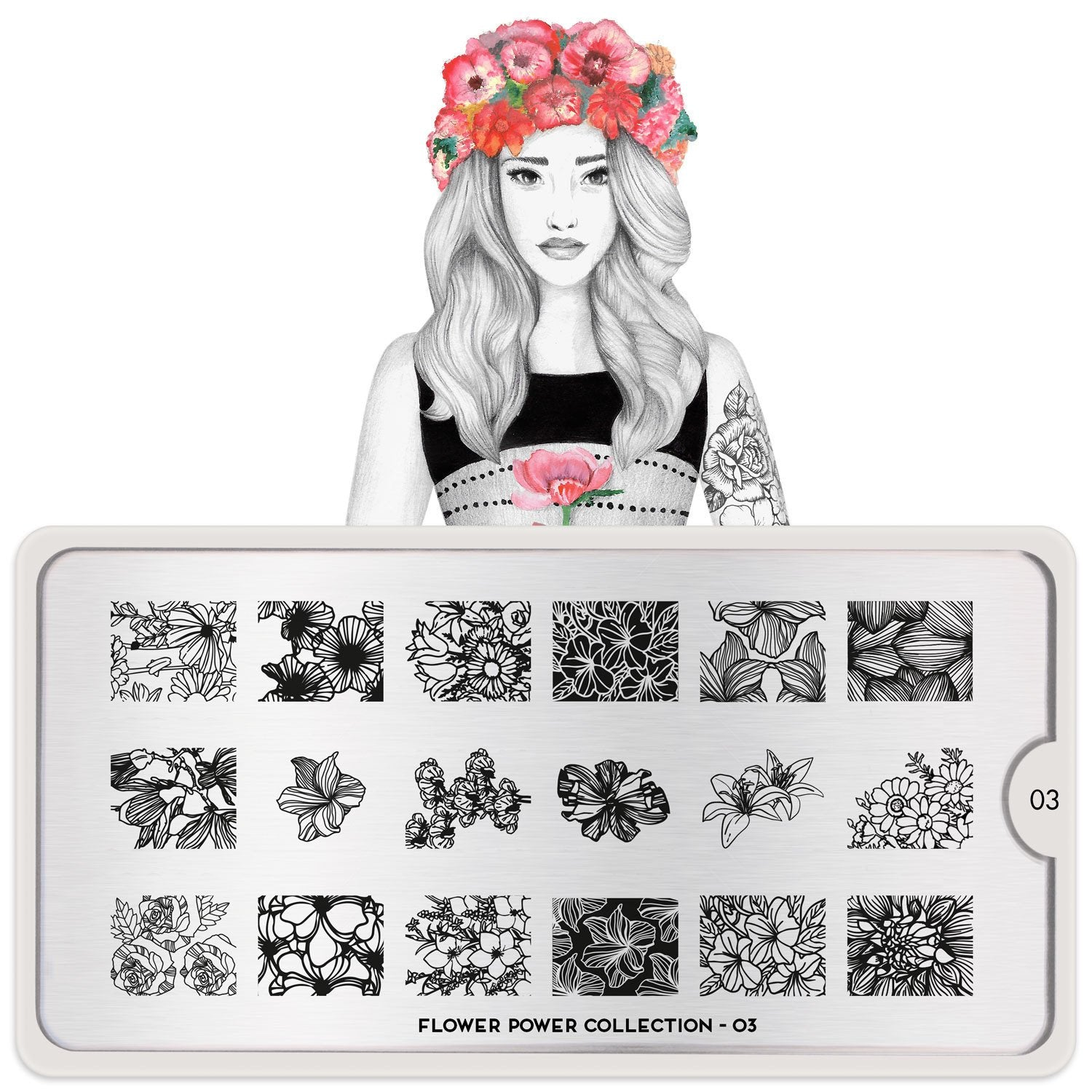 MoYou London Flower Power 03 stamping plate