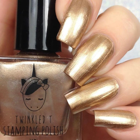 Twinkled T - stamping polish - Liquid Gold