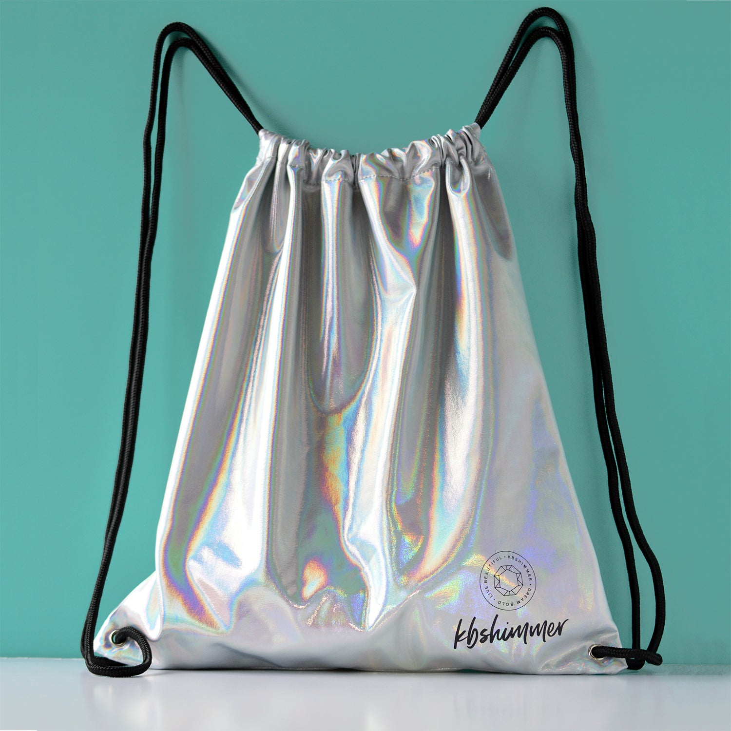 KBShimmer - Silver Holographic Drawstring Backpack