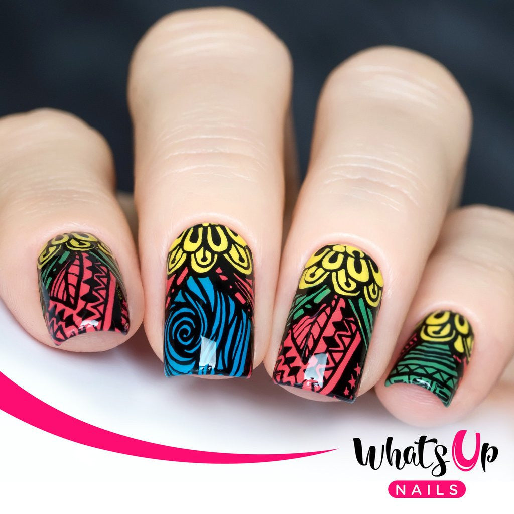 Whats Up Nails - A001 Majestic Flowers stamping plate | Hypnotic Polish