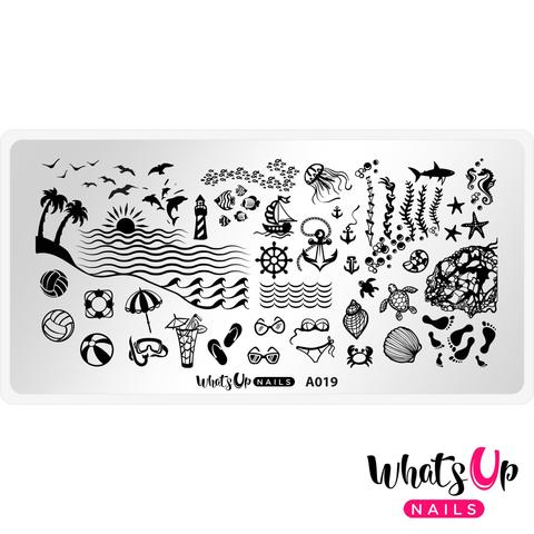 Whats Up Nails - A019 Beach Mode stamping plate