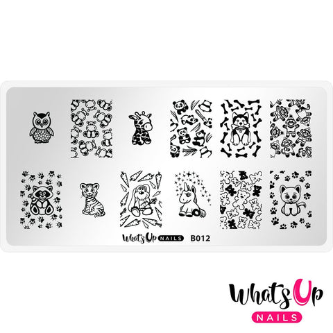 Whats Up Nails - B012 Plushie Pals stamping plate