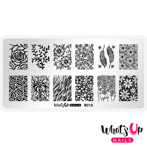 Whats Up Nails - B018 Fields of Flowers stamping plate