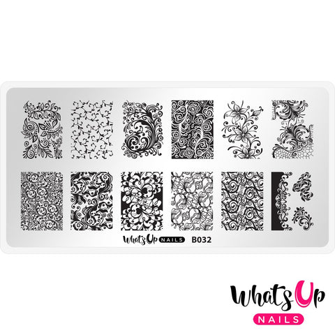 Whats Up Nails - B032 Floral Swirls Stamping Plate