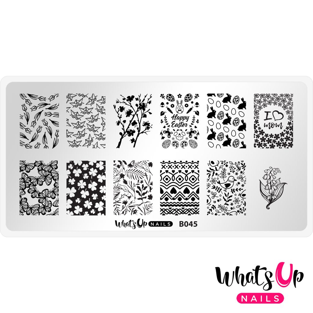 Whats Up Nails - B045 Sprung On Spring Stamping Plate