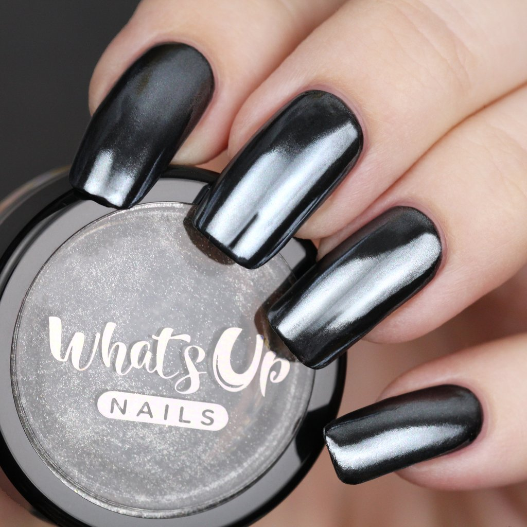 How Does Powder Nail Polish Work: Whats Up Nails - Black Chrome Powder